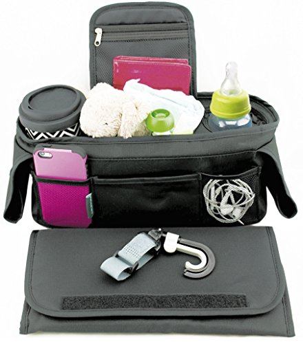 Stroller Caddy Organizer With Portable Changing Pad and Stroller Hooks Included; Single Stroller Handlebar Console...