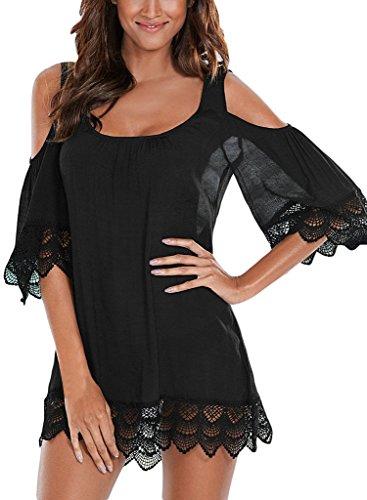 EVALESS Women Sexy Beachwear Swimsuit Summer Crochet Lace Cover Ups Dress Medium Size Black