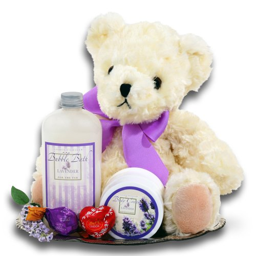 Sweet and Cuddly Lavender Spa and Teddy Bear Valentines Day Gift Tray