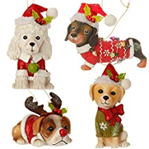 Christmas Dog Ornament Assorted 4-Pack