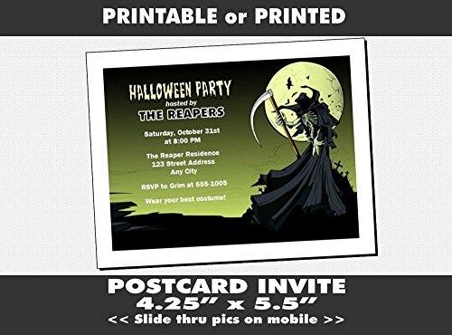 Grim Reaper Halloween Party Invitation, Printable or Printed Option -
