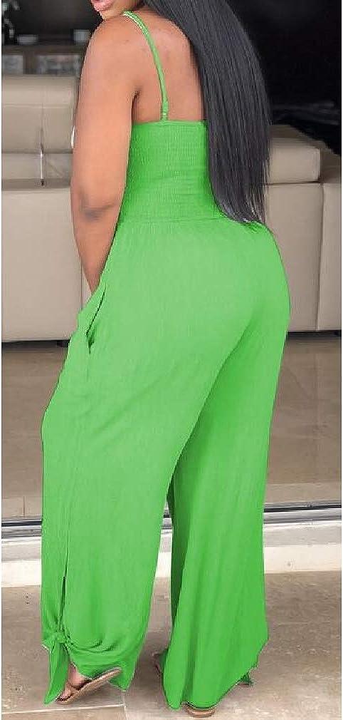 Wofupowga Women Backless Rompers Baggy Spaghetti Strap Wide Leg Jumpsuits