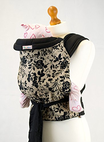 Mei Tai Hip Carrier (Palm and Pond Mei Tai Baby Sling Carrier - black Floral on Tan)
