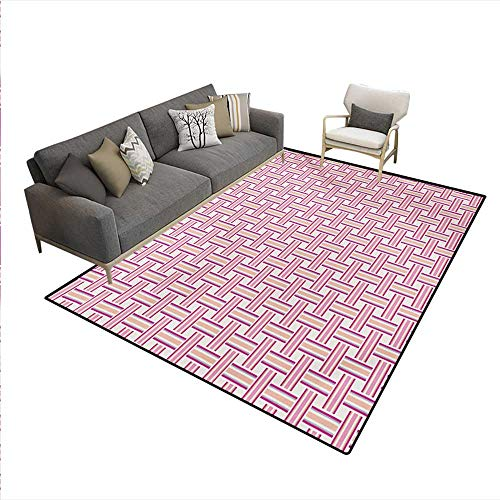 (Floor Mat,Crossed Stripes Bold Lines Bands Lattice Mesh Like Pattern Classical,3D Printing Area Rug,Pink Magenta Peach,5'x6')
