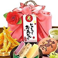 敬老の日 ギフト 和菓子のギフトセット(編み籠入り風呂敷包)ピンク風呂敷