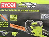 """Ryobi 40-Volt Cordless Hedge Trimmer 24"""" includes Lithium-Ion Battery plus Charger"""