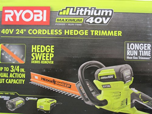 Ryobi 40-Volt Cordless Hedge Trimmer 24'' includes Lithium-Ion Battery plus Charger by Ryobi