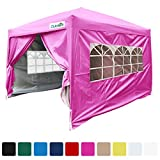 Quictent Silvox 8×8′ EZ Pop Up Canopy Gazebo Party Tent With Carry bag Waterproof-7 Colors (Pink) For Sale