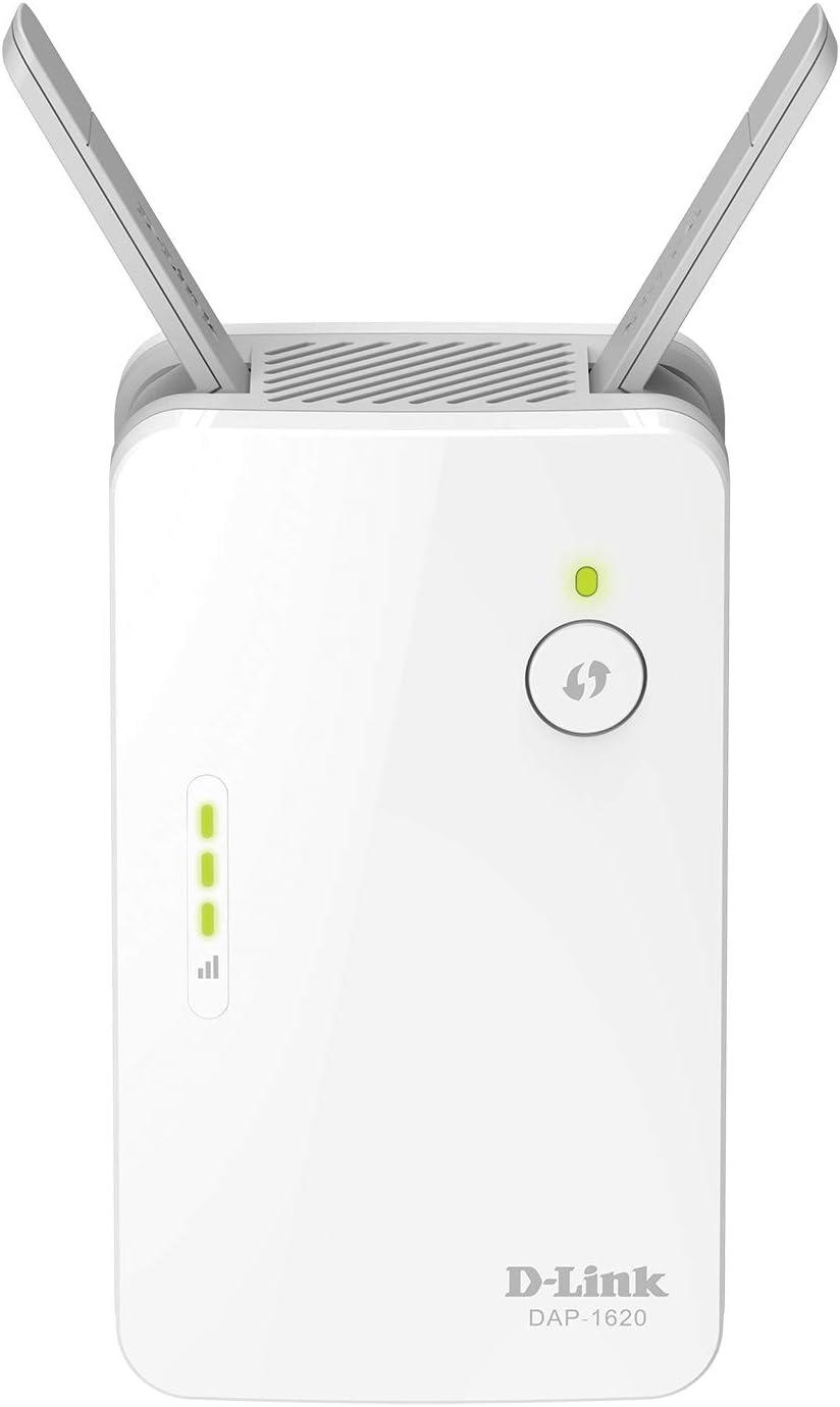 D-Link DAP-1620 - Repetidor WiFi AC1300 con WiFi Mesh, 1 puerto LAN Gigabit Ethernet RJ-45 10/100/1000Mbps, 2 antenas externas abatibles, punto de ...