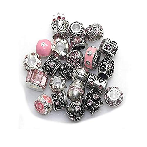 - SEXY SPARKLES Ten Assorted Pink Shades of Rhinestone Color Beads Charms Spacers for Bracelet