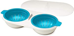 Dusdombr Microwave Eggs Poacher, Food Grade Double Cup Egg Boiler, Ovens Breakfast Cookware Kitchen Steamed Poached Egg Gadget, Non-Stick Fast Egg Steamer Cooking Mold with Lid (Blue)