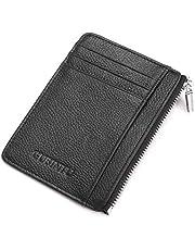 Mens RFID Flip Leather Wallet Slim Credit Card Zipper Holder