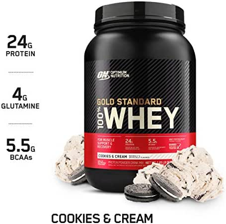 Optimum Nutrition Gold Standard 100% Whey Protein Powder, Cookies & Cream, 2 Pound (Package May Vary)
