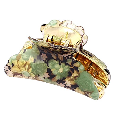 uxcell Women Spring Loaded Flower Print Hair Jaw Claw Clamp Clip