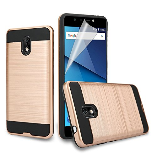 JH-Wireless BLU Life one X3 Case, [Shock Absorption] Drop Protection Hybrid Dual Layer Armor Protective Case Cover with [Premium Screen Protector] for BLU Life One X3 (Rose Gold)