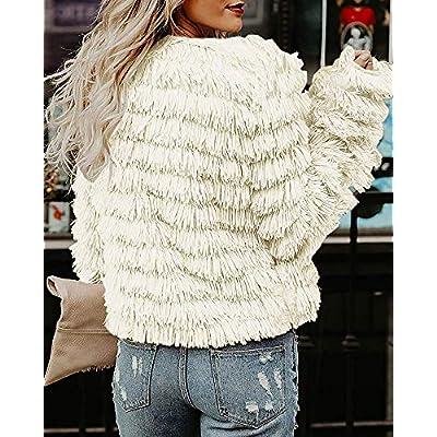 Lovaru Womens Coat Long Sleeve Open Front Parka Shaggy Faux Fur Coat Jacket Parka at Women's Coats Shop