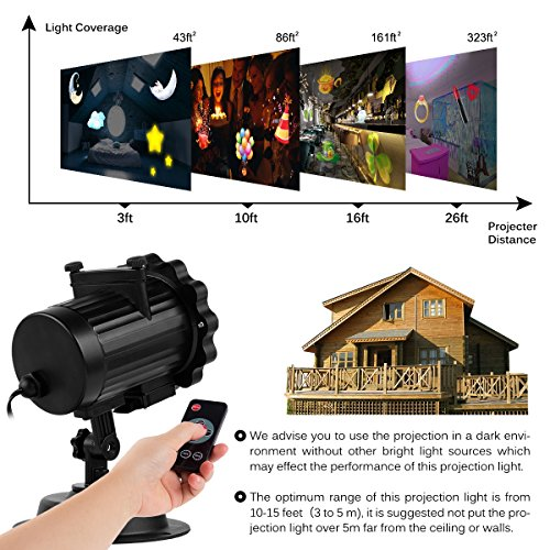Elec3 Christmas Halloween Projector Light, 16 Slides Landscape Motion Projector Lights with Remote Control, 32ft Power Cable for Decoration Lighting on Halloween Holiday Party by Elec3 (Image #2)