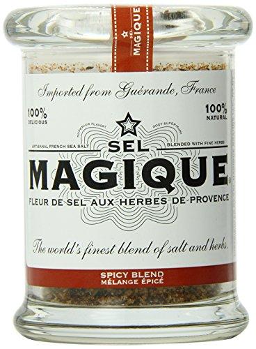 Sel Magique Herb Sea Salt Spicy Blend - Fleur De Sel From France, Natural & Unrefined, 6oz Glass ()