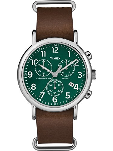(Timex Unisex Weekender Chrono Green Dial Watch, Brown Leather Slip-Thru Strap Dad's Gift Fathers Day)
