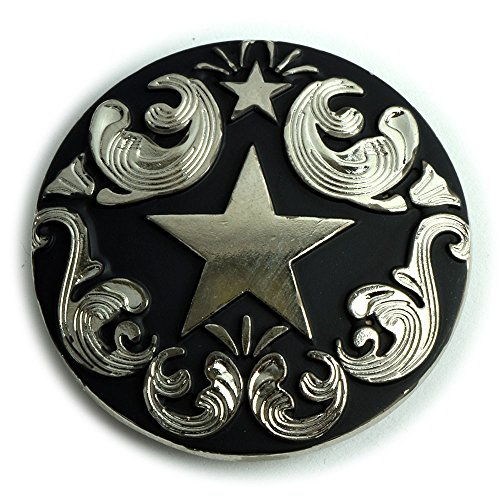 [Lone Star Conchos with an Antique Nickel and Black Enamel Finish.] (Eagle Concho)