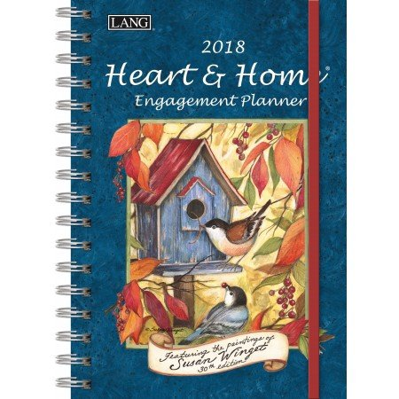 "LANG - 2018 Spiral Engagement Planner - ""Heart & Home"" - Artwork By Susan Winget - 12 Month by Week or Month - 6.25"" x 9"""