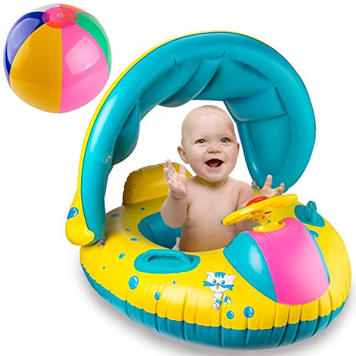 Inflatable Mother And Baby Swim Shade Float Circle Ring Kids Seat With Sunshade Two People Person Swimming Pool Accessories Vivid And Great In Style Activity & Gear