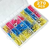 270pcs Heat Shrink Wire Connectors Kit Ring/Fork Terminals Connectors Waterproof Marine Automotive Terminals Set 10-22 AWG Electrical Insulated Crimp Terminals