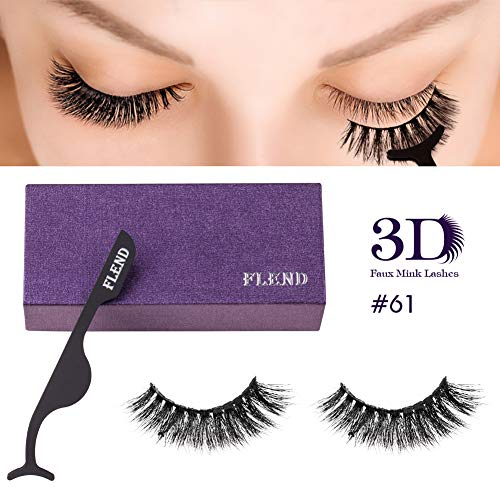 Flend Premium Quality False Eyelashes, 1 Pair Reusable 3D Fake Eyelashes with 1 Tweezer, Non-Magnetic | 100% Handmade | Vegan & Cruelty-Free (#61)