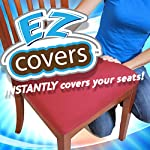 EZ Cover Universal Stretch Seat Covers - 4 Pack Fabric Cushion Slipcovers and Protectors for all Chair Types