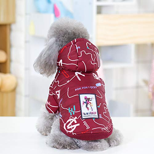 Burgundy MHUAIX petsuppliesmisc Pet clothes autumn and winter new letters twolegged cotton hooded dog clothes hot dog clothes cotton nonvest (color   Navy bluee, Size   M)