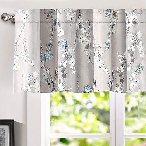 DriftAway Mackenzie Abstract Floral Pattern Window Treatment Valance, Rod Pocket (Blue/Gray, 52