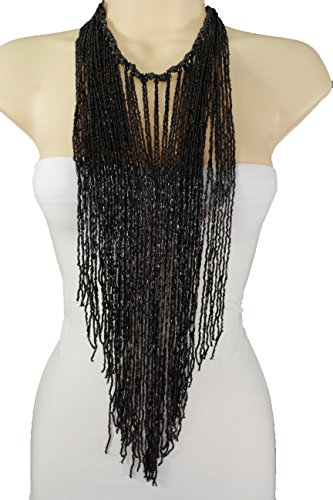 TFJ Women Fashion Necklace Black Beads Extra Long Fringes Multi Strings Dancing Club Bathing (Samba Costumes For Sale Online)