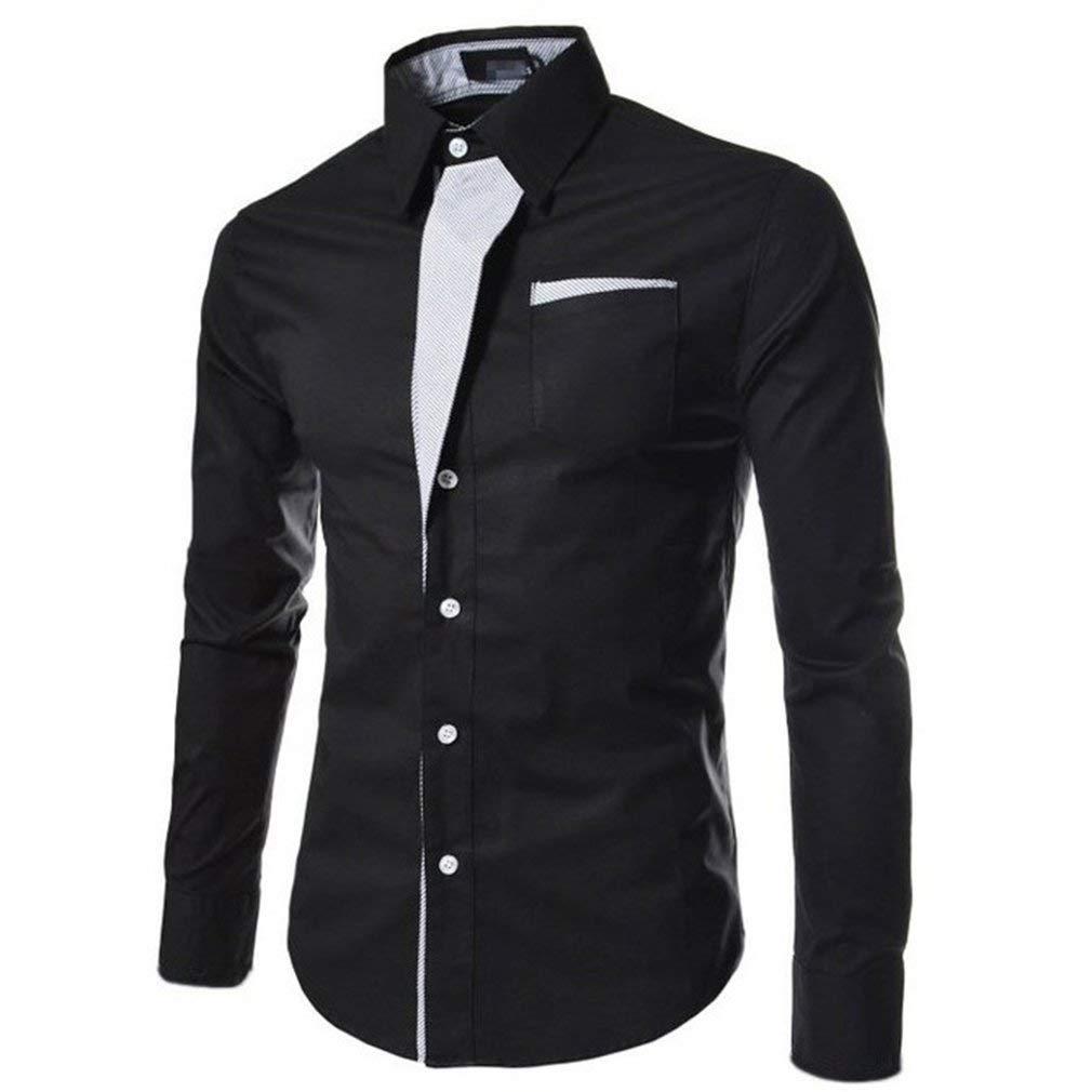 AAGOOD Sportsman Striped Long-Sleeved Personalized Decoration Slim Shirt - Black L