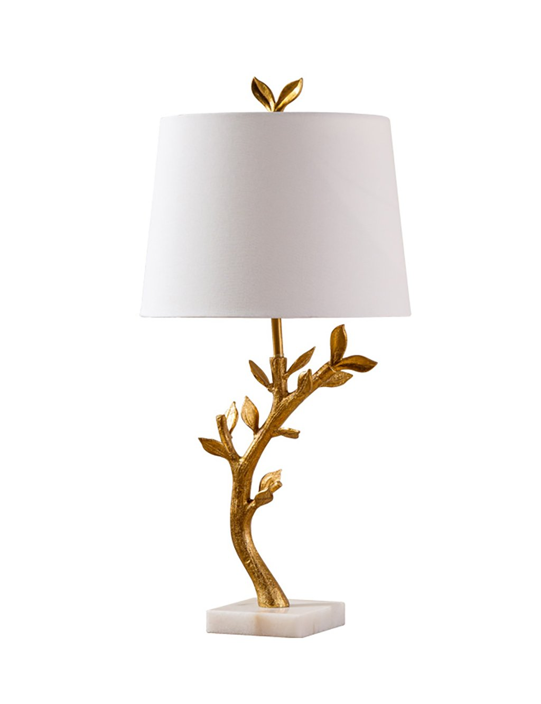 PENGFEI Tuch Tischlampe Retro Persönlichkeit Studie Schlafzimmer Schlafzimmer Eisen Zweig Tischlampe Gold Schöne und praktische Schreibtischlampe