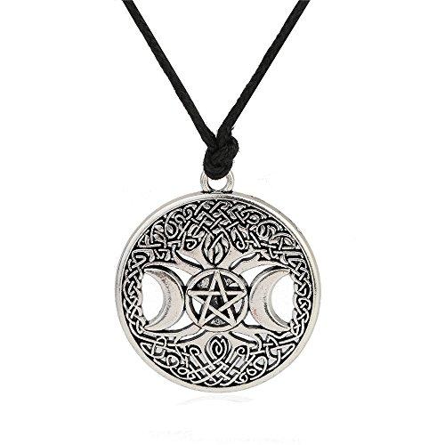 VASSAGO Vintage Norse Myth Tree of Life Yggdrasil Triple Moon Goddess Pentacle Pendant Amulet Necklace (Vintage Silver)