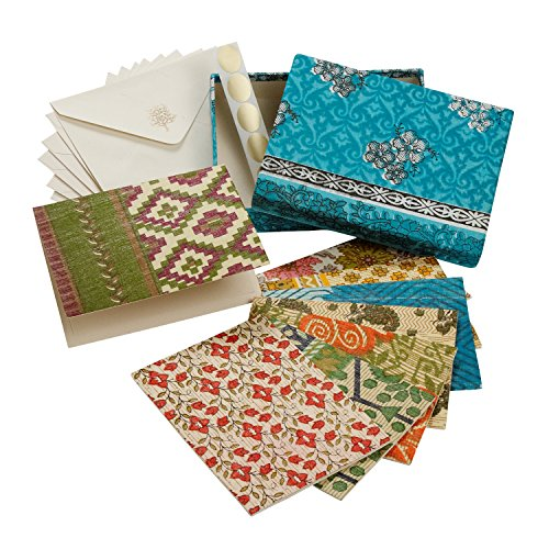 Correspondence Set (Set Of Eight Assorted Recycled Cloth And Paper Blank Greeting Cards 'Correspondence Card Set')