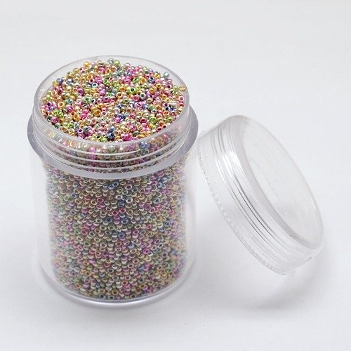 PEPPERLONELY Brand 10000PC/80g Box 1~1.5mm Iris Round Electroplate Glass Seed Beads 15/0