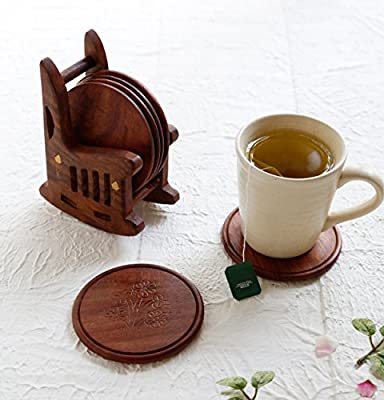 Christmas Gift Vintage Style Wooden Drink Coasters Set of 6 and Rocking Chair Shaped Holder with Brass Inlay Handmade Bar Dining Party Accessories