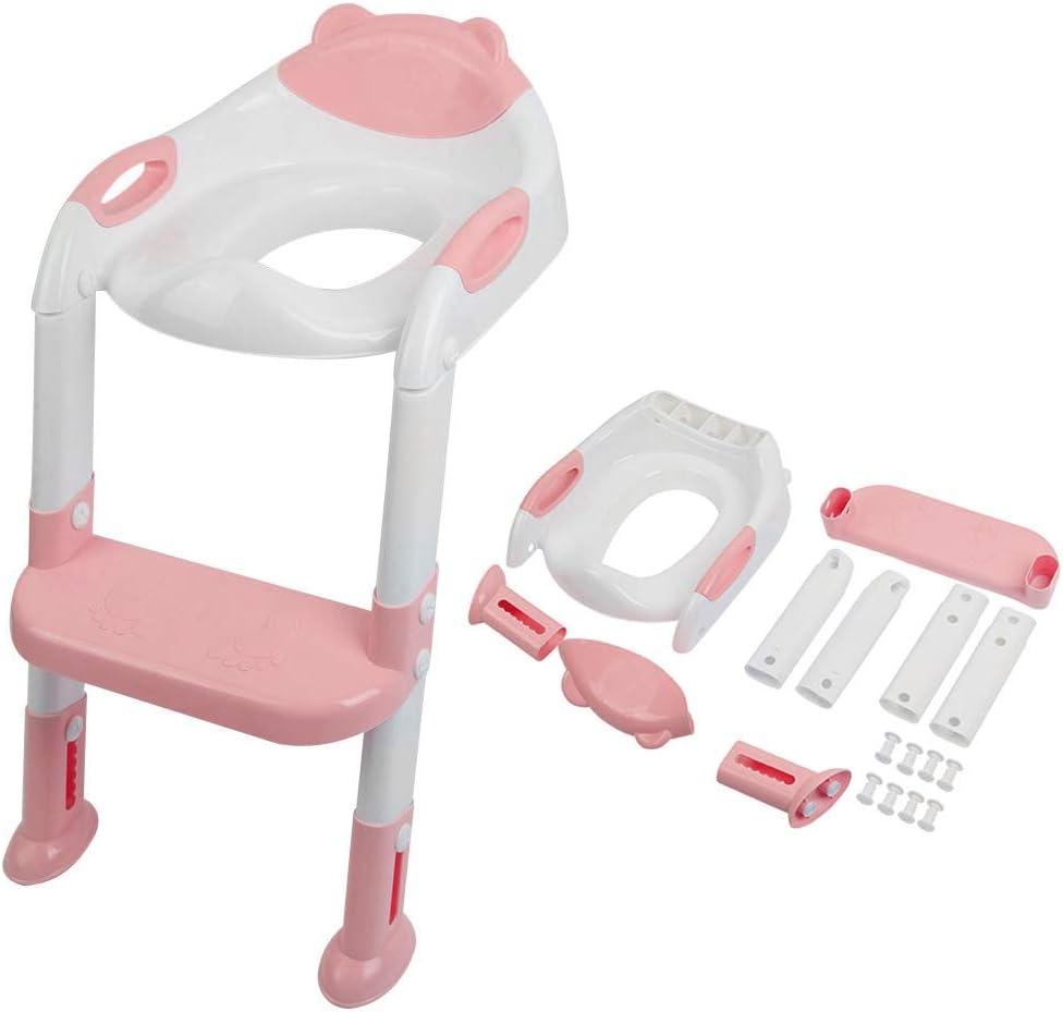 Garosa Entrenamiento Asiento de Inodoro Orinal para bebé Sillas de baño Plegables Ajustables Material de PP Escalera de Inodoro Auxiliar no tóxica(Rosa Claro): Amazon.es: Hogar