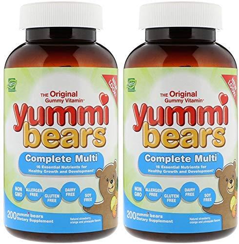 Hero Nutritional Products Yummi Bears Complete Multi Vitamin (Pack Of 2) With Vitamin A, Vitamin C, VItamin E, Niacin, Folic Acid, Pantothenic Acid, Calcium, Magnesium and Zinc, 200 Yummi Bears