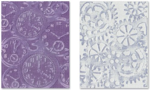 Sizzix 657195 Texture Fades Embossing Folders, Pocket Watches & Steampunk Set by Tim Holtz, 2-Pack, -