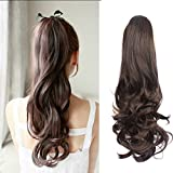 Ponytail clip in hair extensions Long Curly weave Hairpiece 24 inches Medium Brown #4 claw clip On in synthetic Pony tail 160g Fake Hair with a jaw/claw clip