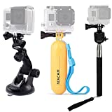 TEKCAM Accessories Kits Bundle for Gopro Hero 7 6 5 APEMAN AKASO EK7000 Campark Apexcam 4K Waterproof Action Camera Include Car Suction Cup Floating Handle Mount and Selfie Stick Monopod Tripod