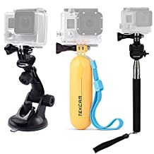 TEKCAM Accessories Kits Bundle for Gopro Hero 6 5 APEMAN AKASO EK7000 4K 12MP 1080p Waterproof Action Camera Include Car Suction Cup Floating Handle Mount and Selfie Stick Monopod Tripod