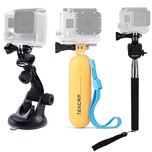 TEKCAM Action Camera Accessories Kits Bundle Compatible for Gopro Hero 7 6/AKASO EK7000/APEMAN/Campark/DBPOWER/Crosstour 4k Waterproof Camera Car Suction Cup Mount Floating Handle Grip Selfie Stick