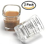 Espresso Shot Measuring Liquid Heavy Glass Cup for Baristas 2oz 1,8' x 1,8'x 2,6' inch (2 pack)