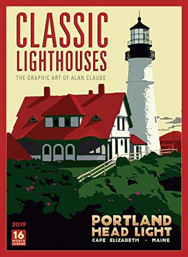 Classic Lighthouses - The Graphic Art of Alan Claude 2019 Wall Calendar