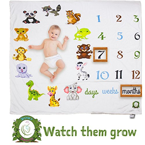 Spunky Sprouts Premium Double Layer Fleece Milestone Growth Blanket-Large 47