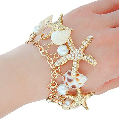 (JIEPING Women Sea Shell Starfish Faux Pearl Pendant Bracelet Bib Statement Jewelry)