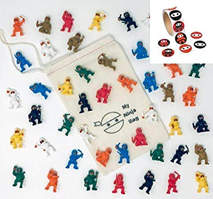 Amazon.com: Bag of 50 Mini Karate Ninjas Plus 100 Stickers ...